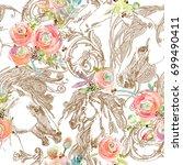 horses sketch. elegant curl... | Shutterstock . vector #699490411