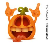 laughing halloween pumpkin jack ... | Shutterstock .eps vector #699490711