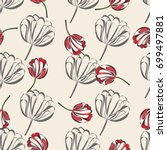 seamless retro 1940s pattern in ... | Shutterstock .eps vector #699497881
