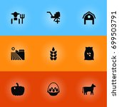 set of 9 agricultural icons set.... | Shutterstock .eps vector #699503791