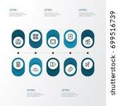 multimedia outline icons set.... | Shutterstock .eps vector #699516739