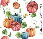 watercolor bright pumpkin...   Shutterstock . vector #699518221