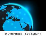 glowing blue polygon and... | Shutterstock .eps vector #699518344