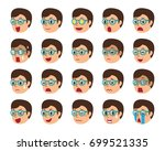 cartoon set of man faces... | Shutterstock .eps vector #699521335