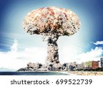 nuclear explosion in city near...   Shutterstock . vector #699522739