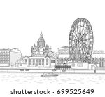 drawing of the embankment of... | Shutterstock .eps vector #699525649