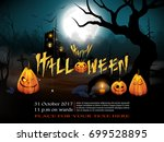 happy halloween background with ... | Shutterstock .eps vector #699528895
