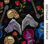 embroidery rock music seamless... | Shutterstock .eps vector #699541204