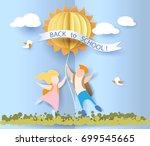 back to school 1 september card ... | Shutterstock .eps vector #699545665