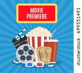 movie poster template. popcorn  ... | Shutterstock .eps vector #699551491