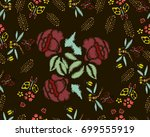 embroidery stitches with roses  ...   Shutterstock .eps vector #699555919