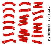 red ribbon big set | Shutterstock . vector #699561529