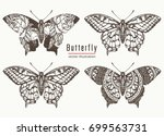 Stock vector butterfly hand drawn collection realistic butterfly tattoo and t shirt design beautiful 699563731