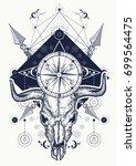 skull bull tattoo and t shirt... | Shutterstock .eps vector #699564475