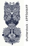 owl tattoo and t shirt design.... | Shutterstock .eps vector #699564649