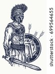 warrior tattoo and t shirt... | Shutterstock .eps vector #699564655