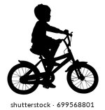 little boy riding bicycle... | Shutterstock .eps vector #699568801