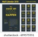 wall calendar template for 2018 ... | Shutterstock .eps vector #699575551