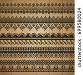 vector lace ribbon on wooden... | Shutterstock .eps vector #699580024