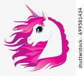 unicorn head portrait vector... | Shutterstock .eps vector #699581434
