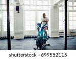 smiling mature man in... | Shutterstock . vector #699582115
