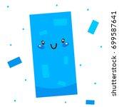 cute shape  blue rectangle ... | Shutterstock .eps vector #699587641