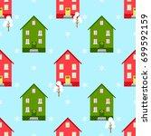 house christmas seamless... | Shutterstock . vector #699592159