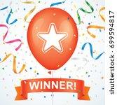 winner greeting card vector...   Shutterstock .eps vector #699594817