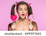 gitl with two ponytails | Shutterstock . vector #699597601