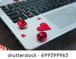 online dating concept. laptop...   Shutterstock . vector #699599965