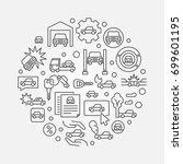 vehicle insurance outline... | Shutterstock .eps vector #699601195