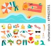 beach rest color icons set.... | Shutterstock .eps vector #699602551