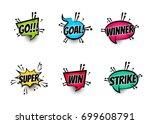 lettering super  goal  winner ... | Shutterstock .eps vector #699608791