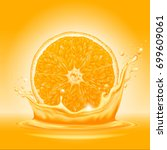 natural orange juice label... | Shutterstock .eps vector #699609061