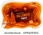 halloween night background with ... | Shutterstock .eps vector #699609301