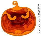 halloween greeting design in... | Shutterstock .eps vector #699609325