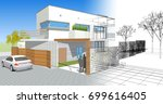 3d illustration  house sketch | Shutterstock . vector #699616405