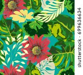 tropical seamless pattern with  ... | Shutterstock .eps vector #699636634