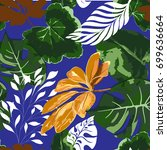 tropical seamless pattern with... | Shutterstock .eps vector #699636664