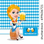 oktoberfest flyer with sexy... | Shutterstock .eps vector #699636721