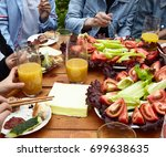 friends  party dinner with... | Shutterstock . vector #699638635