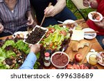 friends  party dinner with... | Shutterstock . vector #699638689