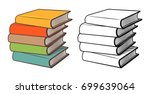 stacks of books. stylized... | Shutterstock .eps vector #699639064
