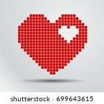 Heart Pixel. Vector Digital...