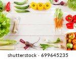 frame of fresh organic... | Shutterstock . vector #699645235