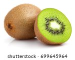 Ripe Whole Kiwi Fruit And Half...