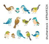 set of cute little colorful... | Shutterstock .eps vector #699649324
