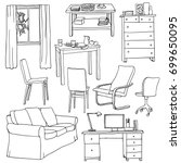 vector set of modern furniture... | Shutterstock .eps vector #699650095