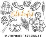 wooden craft beer mug  pretzel  ... | Shutterstock .eps vector #699650155