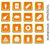 fast food icons set in orange... | Shutterstock .eps vector #699650251